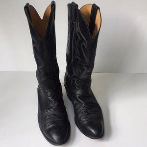 Vintage Nocona men's 9 D black cowboy boots TX